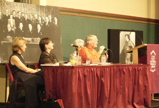 Photo of the founders of Jessie Street National Women's Library at the launch of Launch of Jessie Street: A Revised Autobiography in the Lower Town Hall in Sydney, March 2004. Left to right: Maxine McKew (guest speaker), Lenore Coltheart (who revised the autobiography), Shirley Jones (MC) and Elizabeth Evatt AC (at the microphone) Elizabeth Evatt launched the book.